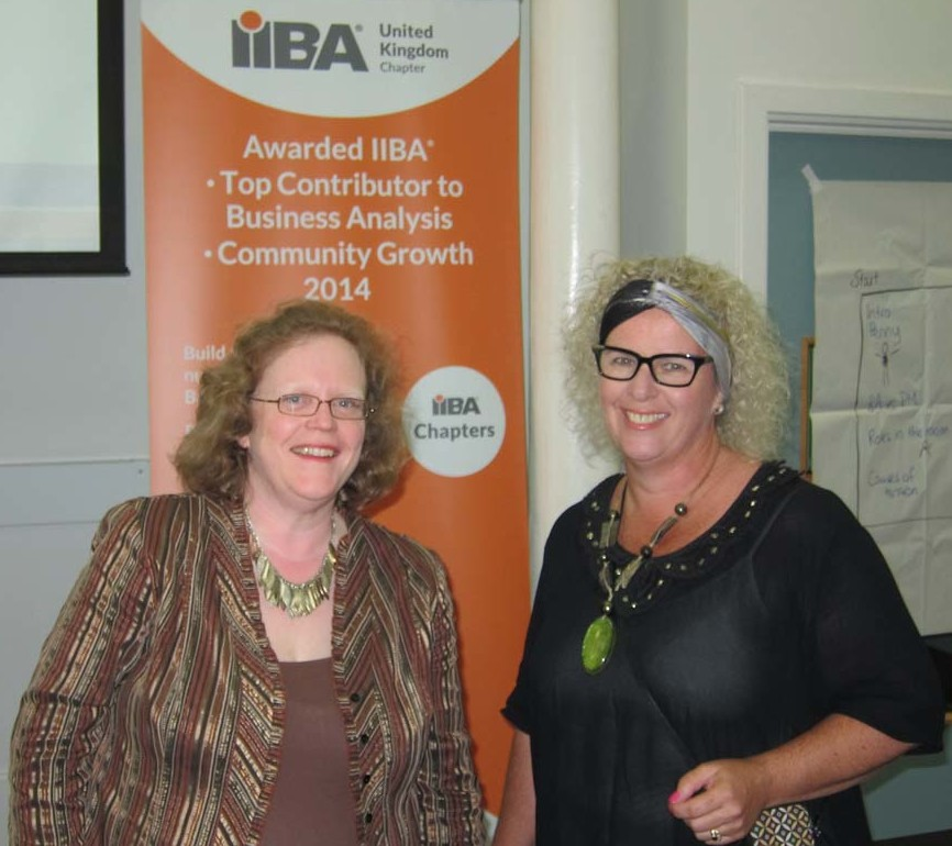Penny Pullan (L) with Sarah Gibson of Redvespa speaking in London